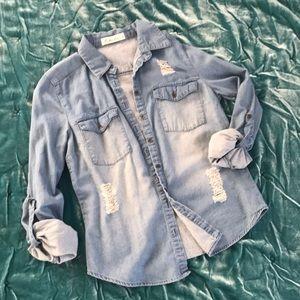 Thin denim chambray button down shirt